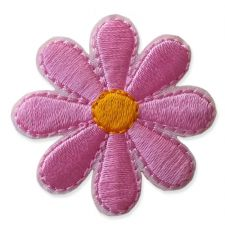 BABY PINK DAISY MOTIF IRON ON EMBROIDERED PATCH APPLIQUE